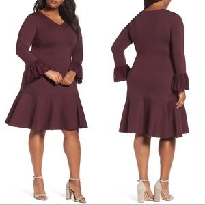 Sejour Purple Flounce Hem Dress